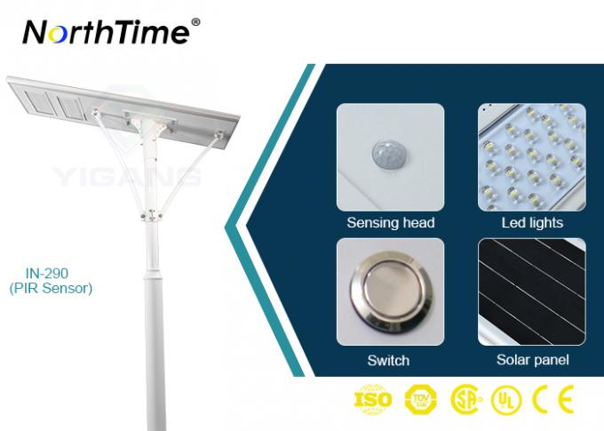 Bridgelux LED Chips Automatic Solar Street Light All In One Motion Sensor Control